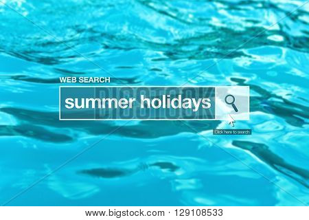 Summer holidays - web search bar glossary term on internet