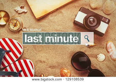 Last minute web search bar glossary term on internet last minute tourist agency arrangement offers poster