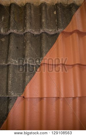 Comparison of before and after cleaning and roofing job