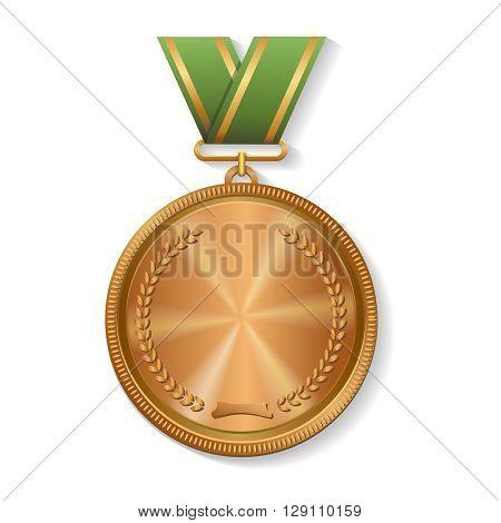 Blank champion winner bronze medal with ribbon