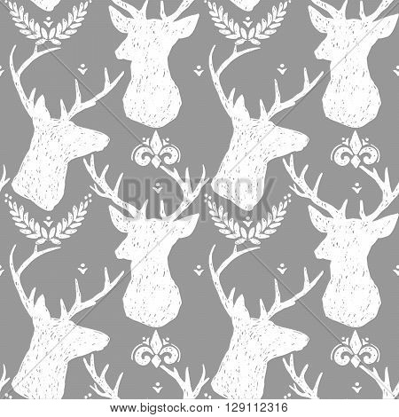 Vintage graphic seamless pattern.Graphic deer. Animals pattern. Seamless pattern with Deer. Deer illustration.  Forest Deer. Deer silhouette. Black and White background