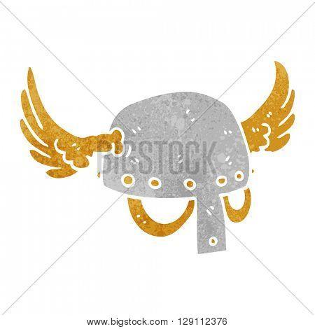 freehand retro cartoon winged helmet