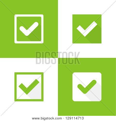 Set of vector buttons with check marks or ticks. checkbox. Web and mobile applications. acceptance positive passed voting. Green. flat design