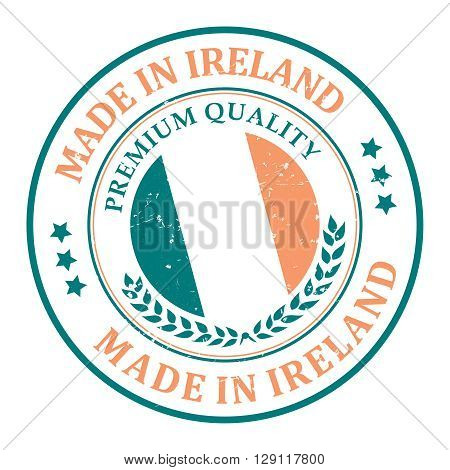 Made in Ireland grunge printable label. Grunge label - Made in Ireland, with Irish flag colors and map. CMYK colors used.
