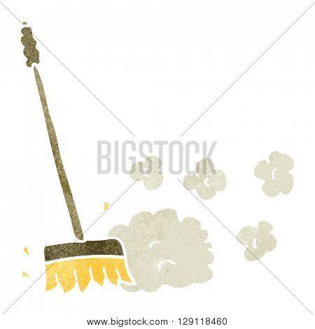 freehand retro cartoon sweeping brush