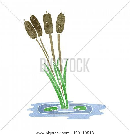 freehand retro cartoon reeds