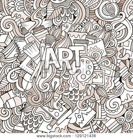 Art hand lettering and doodles elements background. Vector illustration