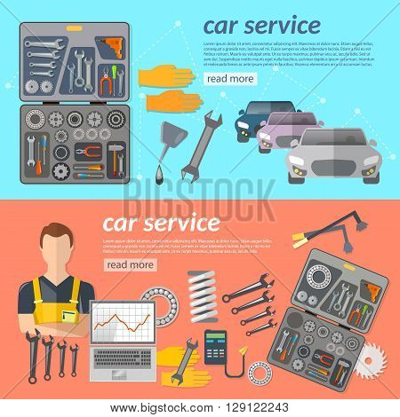 Car service car repair banner car mechanic tool box car parts vector illustration