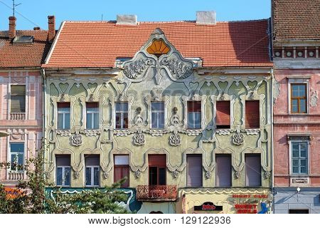 ARAD, ROMANIA - JULY 30, 2015: elegant building facade Art Nouveau and Viennese Secession architecture in Arad
