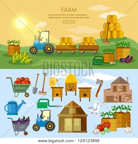 Farm in village banner farm elements agriculture collection vector illustration