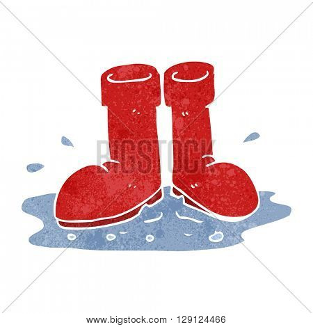 freehand retro cartoon wellington boots in puddle