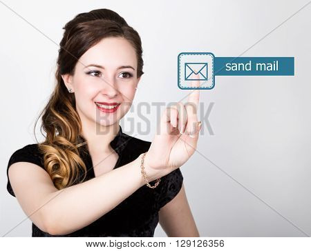 technology, internet and networking concept. beautiful woman in a black business shirt. woman presses send mail button on virtual screens.