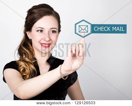 technology, internet and networking concept. beautiful woman in a black business shirt. woman presses check mail button on virtual screens.