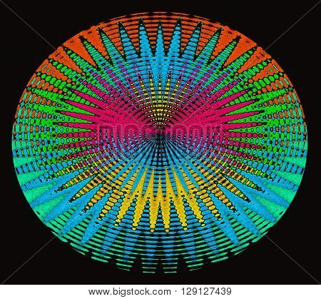 Colorful explosion on a black background, pink, orange, yellow, blue and green