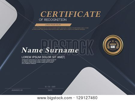 Certificate of achievement frame design template Vector illustration of gold detailed certificate