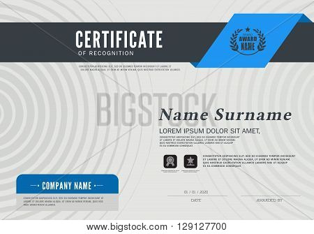 Vector illustration of Blue detailed certificate Certificate of achievement frame design template