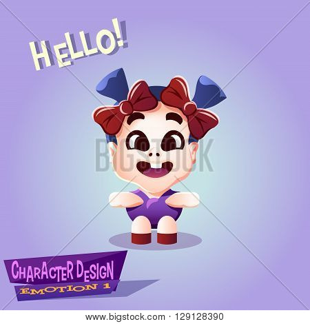 Happy smiling little Kid with pigtails and bows. Joyful Tot isolated vector illustration.
