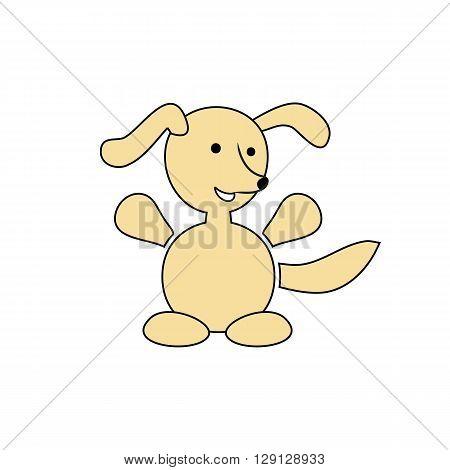 Cartoon happy dog vector illustration isolated on the white background.