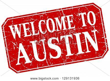 welcome to Austin red square grunge stamp