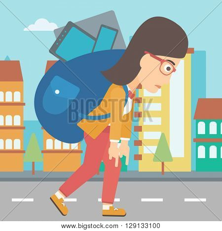 Woman with backpack full of devices.