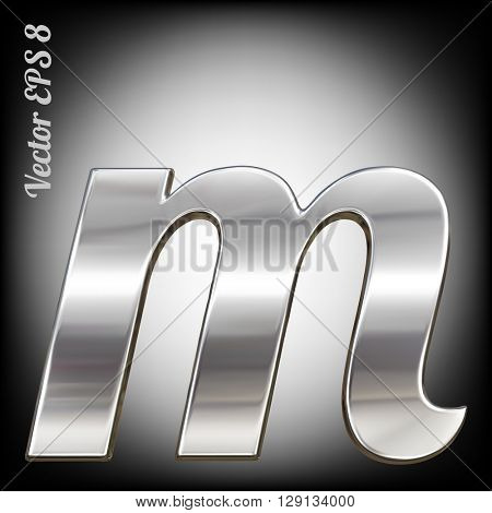 Vector letter m from metal alphabet. Lovercase metal font collection. EPS 8
