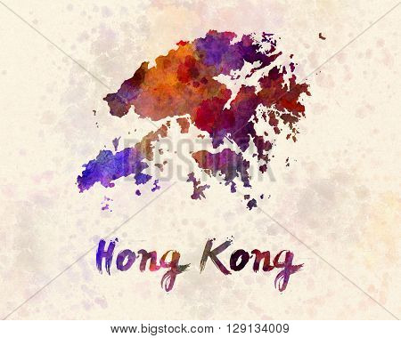 Hong Kong map in artistic abstract watercolor background