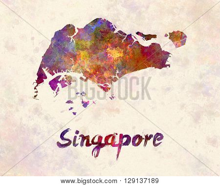 Singapore map in artistic abstract watercolor background