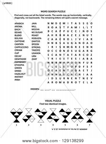 Puzzle page with two brain games: all about coffee themed word search puzzle (English language), and visual puzzle.  Black and white, A4 or letter sized. Answer included.