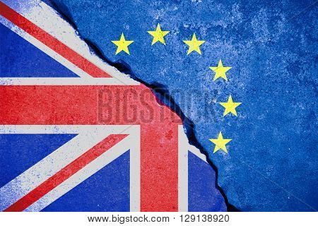 Brexit Blue European Union Eu Flag On Broken Wall And Half Great Britain Flag