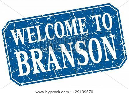 welcome to Branson blue square grunge stamp