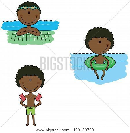 Cute vector African-American swimmer boys in different situations: swimming in the pool with inflatable ring wearing inflatable armbands resting near the pool edge