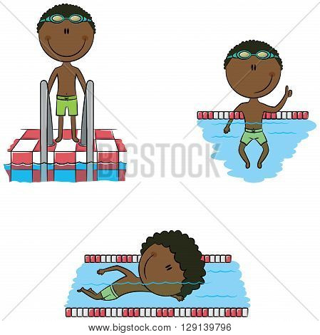 Cute vector African-American swimmer boys in different situations: in the pool swimming in the pool resting on swimming pool dividing line standing near the stairs to the pool