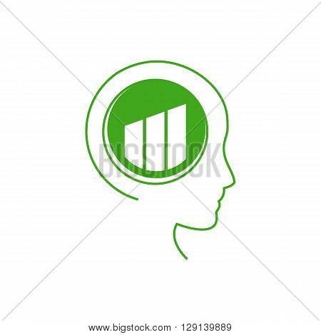 Abstract human profile. Brain with structure of stylized symbol. The concept of love to nature environmental awareness alternative lifestyle healthy life thinking green. Vector illustration.