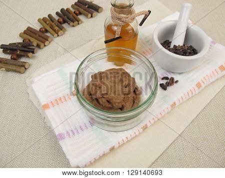 Homemade chocolate mask with cocoa and oil