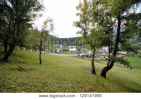 View of the village Uznezya Altai Republic Russia