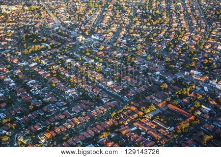 Aerial View Of Suburbs In Sydney, Australia
