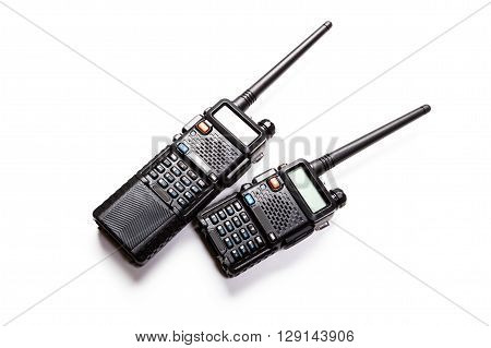 Portable radio transmitter on a white background