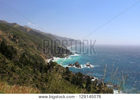 Land and seascape along California's Highway 1 in the Big Sur region