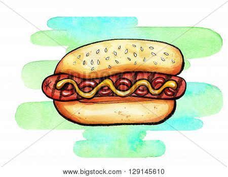 Hand drawn watercolor illustration of hot dog with mustard, ketchup and grill marks on colorful shape. Isolated on the white background, food drawing