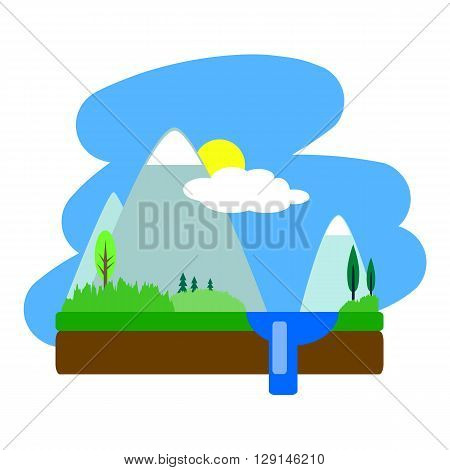 Flat summer landscape vector illustration, summer landscape with mountains, trees and lake, water landscape drawing, flat landscape on white, optimistic landscape, peaceful landscape, sun and clouds