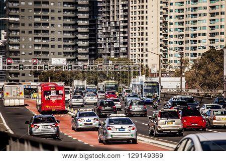 Sydney Australia - May 15 2015: Rush hour traffic on an expressway leading into Sydney Australia
