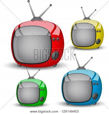 set of four cute TV. Four colored televisions