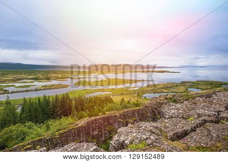 Thingvellir National Park - famous area in Iceland right on the spot where the atlantic tectonic plates meets.