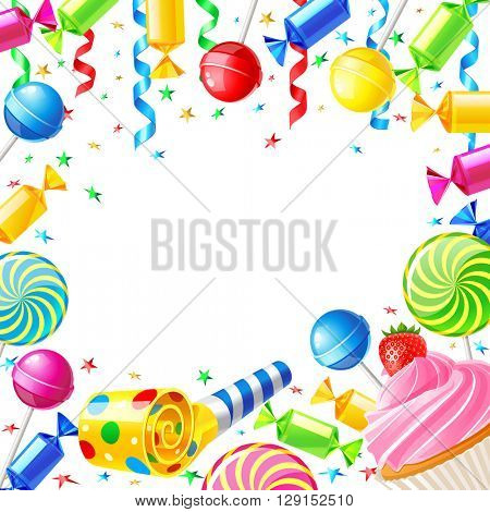 Birthday background with sweets. Vector illustration. Template for Happy birthday card with place for text 10eps