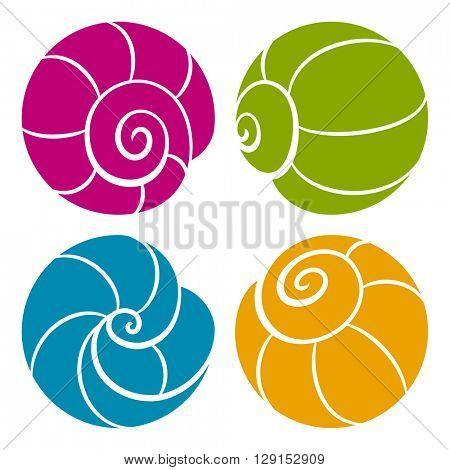 Set of vector iconic round shells isolated on white background