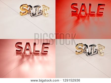Set of pictures dimensional inscription of SALE on background. 3D illustration.