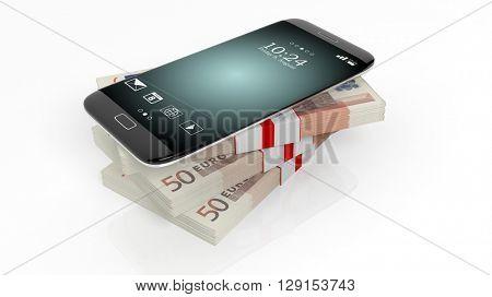 3D rendering of smartphone on 50 Euros banknotes bundles stack,on white