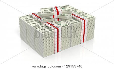 3D rendering of 100 Dollars banknote bundles stacks, isolated on white background.
