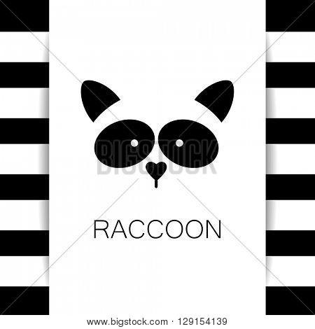Raccoon logo. Isolated raccoon head on white background. Raccoon mascot idea for logo, emblem, symbol, icon. Vector illustration.