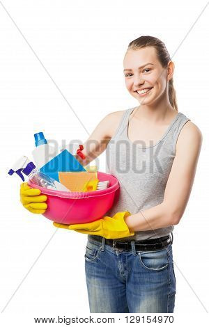 Smiling young woman with bowl of cleansers and wipes, close-up, housewife, isolated on white